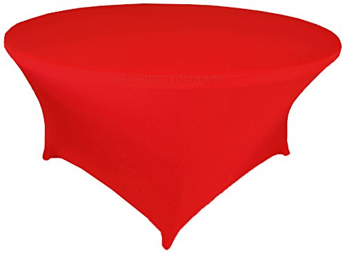 Wedding Linens Inc. Wholesale (200 GSM) 6 FT (72 in) Round Spandex Stretch Fitted Table Cover Tablecloths Red ()
