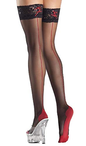 Red Cuban Foot Heel Thigh Highs Stockings Back Seam Lace Top Sheer Hosiery