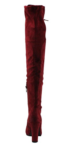 Forever Womens Dasia-14 Faux Suede Lace-up Over The Knee High Heel Dress Boots Wine Fs5adOFo