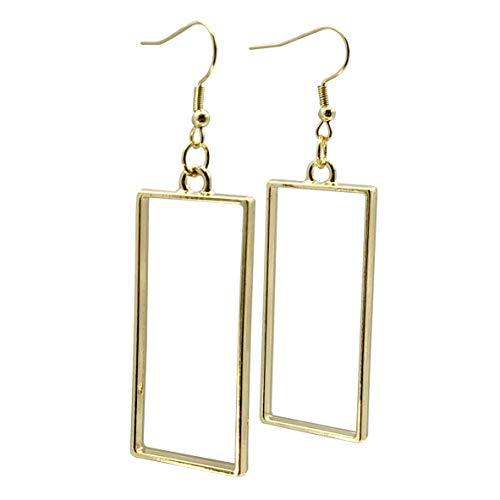 Sabai NYC Eighties Rockstar Rectangle Hoop Earrings on Stainless Steel Earwires (gold-tone)