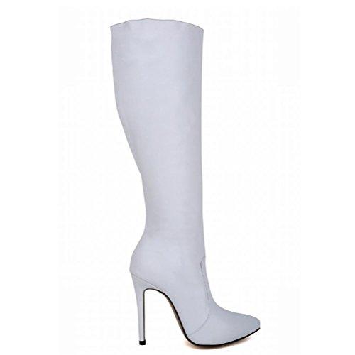 Stivali alto e da tacco autunno donna alto laterale con QPYC Stivali cerniera donna con inverno tacco con da white donna punta con Stivali da a tacco Scarpe S1z76wzx