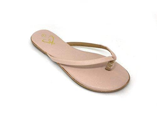 - Emma Shoes Women's Monochromatic Patent Flat Thong Sandal (7, Blush)