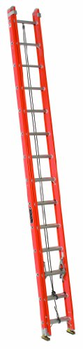 Ladder Fiber - Louisville Ladder FE3228-E03 Fiberglass Extension Ladder with Cable Hook and V-Rung Attached, 28 Feet, 300 Pound Duty Rating