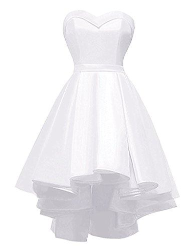 - Sweetheart Hi-Lo Prom Hoemcoming Dress Strapless Satin Short Wedding Party Dress Lace Up Ivory,10