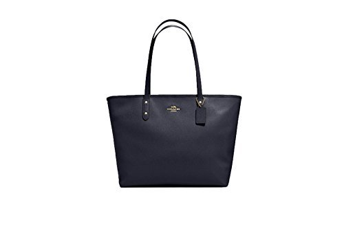 Coach Large City Zip Tote Crossgrain Leather14929 Midnight Blue ()