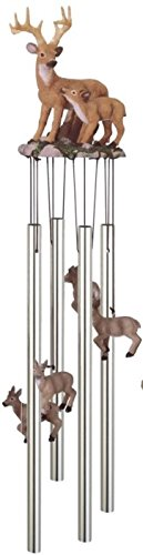 StealStreet SS-G-41636 Wind Chime Round Top Deer with Fawn Baby Garden Decoration Windchime