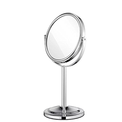 EYX Formula 360 °Rotating Double-sized Round 2X Magnifying Vanity Mirror Cosmetic Mirror ,Mini Portabel Makeup Mirror Desktop Mirror Essential for Bathroom ,Bedroom (Circle Mirror Tray)