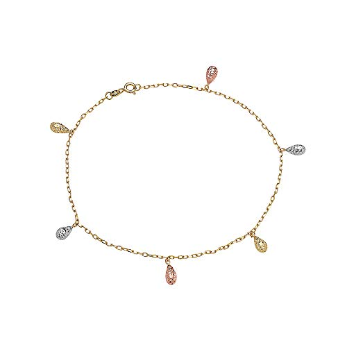 - Pori Jewelers 14K Solid Gold Tricolor Dangling Charm Anklets- Choose from Multiple Styles- 10