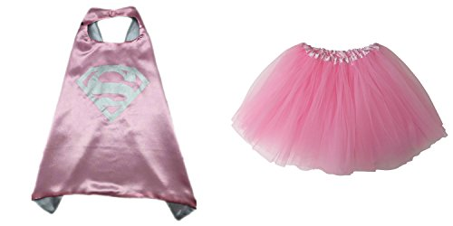 Superhero or Princess TUTU, CAPE, & MASK SET COMPLETE COSTUME - Kids Childrens Halloween (Supergirl - Pink & (Supergirl Halloween)