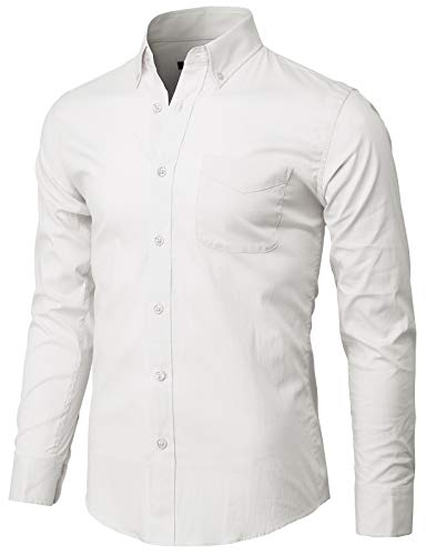 H2H Mens Casual Slim Fit Button Down Dress Shirts Spandex White US M/Asia L (KMTSTL558)