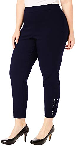 Zac & Rachel Plus Solid Lace Up Ankle Pants 18W Navy, used for sale  Delivered anywhere in USA