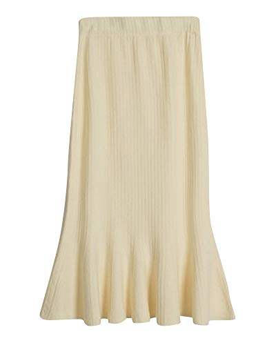 en Midi Coupe en Beige Slim Taille Jupe Jupe Femme Taille Tricot Haute De Queue Jupe lastique Yonglan Poisson 51vxOc