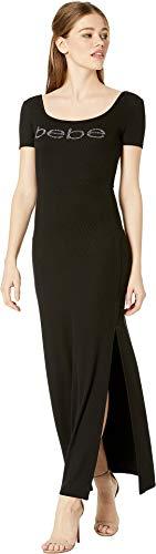 bebe Womens Maxi Dress w/Pink Gradient Logo Black LG from bebe