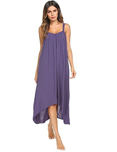 Ekouaer Womens Sleeveless Long Nightgown Summer Slip Night Dress Cotton Sleepshirt Chemise,A-violet_9035,X-Large - Vintage Chemise