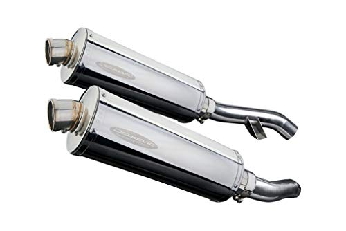 Stainless Steel Oval Silencer - Yamaha FJR1300 Delkevic Aftermarket Slip On Stubby 14