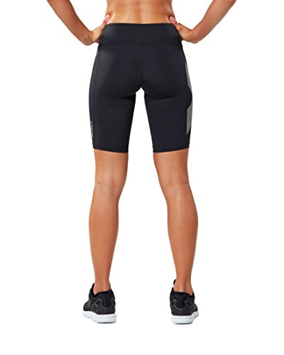 2XU Women's Mid-Rise Compression Shorts, Black/Striped White, X-Small by 2XU (Image #2)