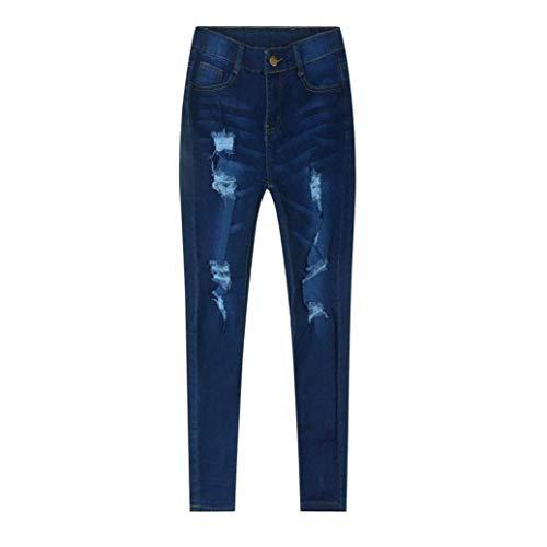 Jeans Vaqueros Lápiz Mezclilla Pantalones Agujeros Rotos Colour Casuales Algodón Con De Chern Elástico Mujer Mujeres tgxtqOz
