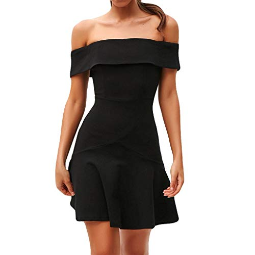 Aunimeifly Ladies Sexy Dresses Off-Shoulder Elegant Pleated Solid Color Tight Mini Dress Black