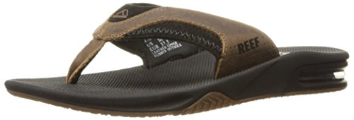 Reef Men's Leather Fanning Sandal, Black/Brown, 4 M US