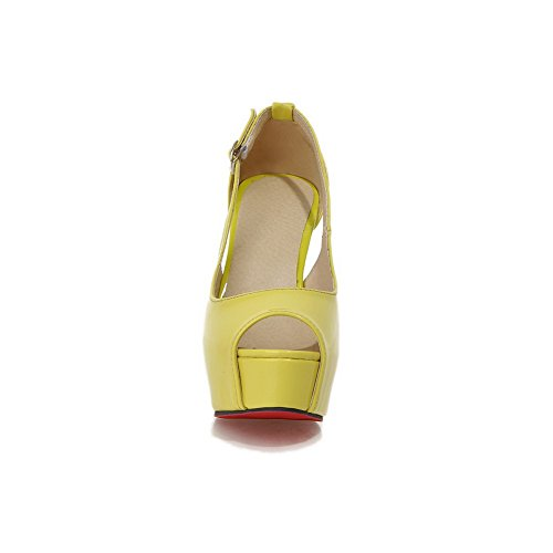 1TO9 Ladies European Style Peep-Toe Patent Leather Sandals Yellow WBY4TU3m