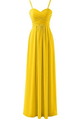 sunvary Funda de Empire de la cintura para espaguetis correas gasa fiesta vestidos dama de honor amarillo