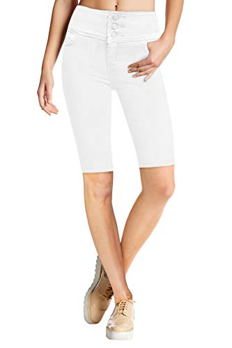 HyBrid & Company Womens Super Stretch 5 Button Hi Waist Skinny Shorts B45075SKX White 14