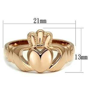 Eternal Sparkles Womens IP Rose Gold Claddagh Ring Stainless Steel