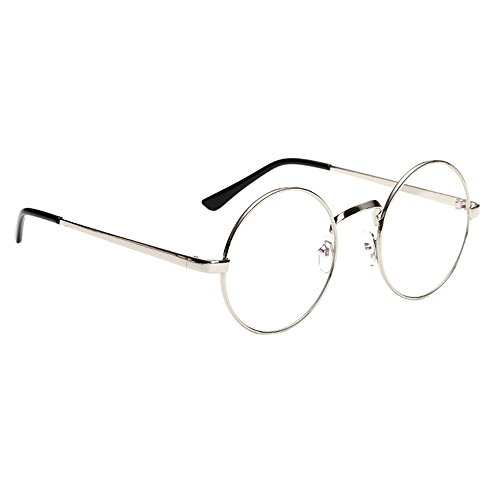 Scorpiuse Aviator Glasses Clear Lens Retro Metal Frame Eyeglasses (Round Silver, - With Kids Glasses Big