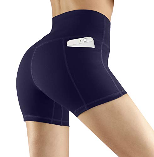 (Fengbay High Waist Yoga Shorts, Workout Running Shorts with Side Pockets Tummy Control Compression Shorts for Women Navy Blue )