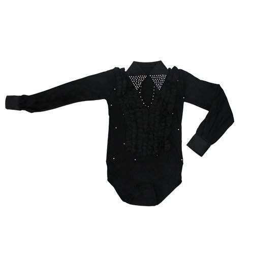 [Gydoxy(TM) Classical Boys Latin Shirts Kids Tango Rumba Salsa Dance Wear Blue Black White Lantern Sleeve Latin Dance Costumes For] (Childrens Salsa Costumes)