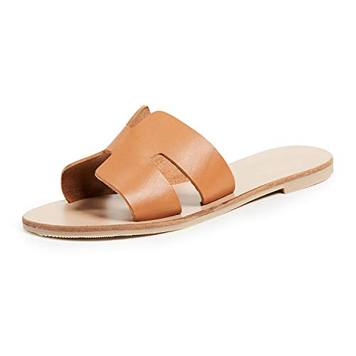 Women's Flat Sandals Slide-on Open Toe Faux Leather Cutout Summer Slippers