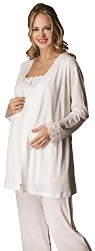 Bondy Maternity Pajamas 3-Piece Pajama Set with Pants and Robe
