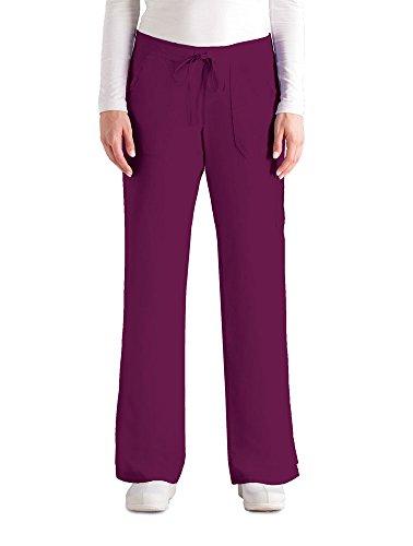 Grey's Anatomy Women's 4245 Junior Fit 4-Pocket Elastic Back Scrub Pants, Wine, Small Cargo Pocket Scrub Pants Wine