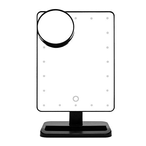 Ovonni L207A LED Touch Screen Kosmetikspiegel mit 10X Lupe 20 LEDs beleuchteter Schminkspiegel Rasierspiegel Dimmbar Batteriebetrieben schwarz