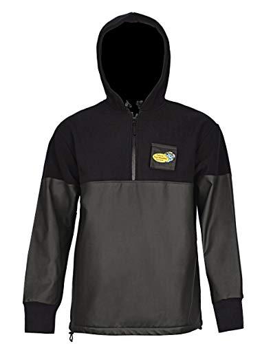 (Navis Marine Workwear Foul Weather Gear for Men Rain and Fishing Hoodie Jacket with Softshell PVC (Half-Zipper Black, M))