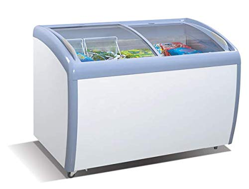 Tiger Chef Commercial Angle Curved Top Chest Freezer Glass Top, Deep Ice Cream Freezer with 4 Wire Baskets, Adjustable Thermostat, Locking Coasters, 9 Cubic Feet, White