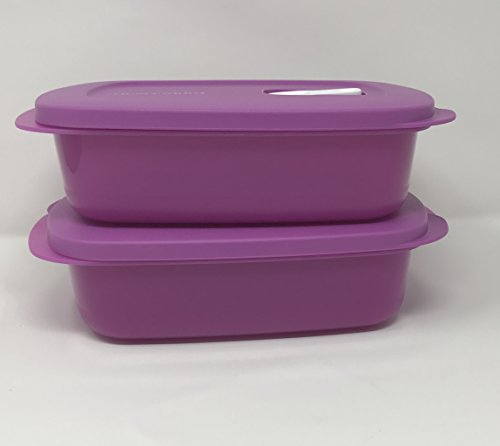 Tupperware Crystalwave Rectangle Microwave 2 Pc Set 4cup / 1l - Purple (Crystalwave Container Tupperware)