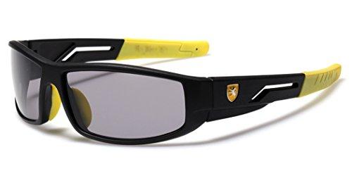 Kids Boys Wrap Around Cycling Baseball Sport Sunglasses Age 3-12 - Black & Yellow