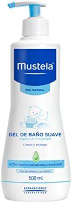 Mustela, Gel de Baño Suave para cara, cuerpo y cabello de Bebés y niños, Limpia y protege, 90% ingredientes de