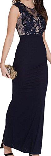 erdbeerloft - Damen Maxikleid mit transparentem Part und Rückenausschnitt, S-L