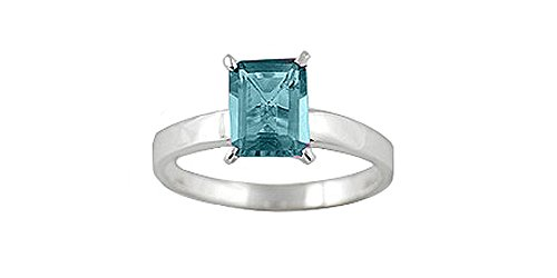 Sterling Silver 8x6mm Octagon Genuine Blue Topaz Ring (Size 5)