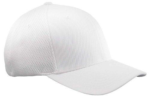 (Premium Original Blank Flexfit Ultrafibre Mesh Fitted Hat Cap Flex Fit 6533 Small / Medium - White)