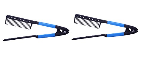 Herstyler V Shape Easy Comb, Hair Straightening Comb for Salon Quality Hair Styles, Blue (Pack of 2) (Hair Blue Straightener)