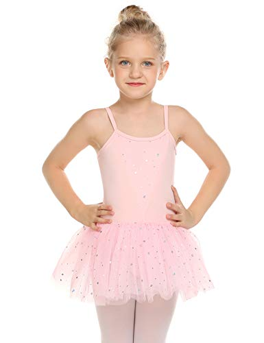 (Zaclotre Girls' Camisole Tutu Leotard Dress Ballet Dance Gymnastics Glitter Skirted Dancewear Pink)