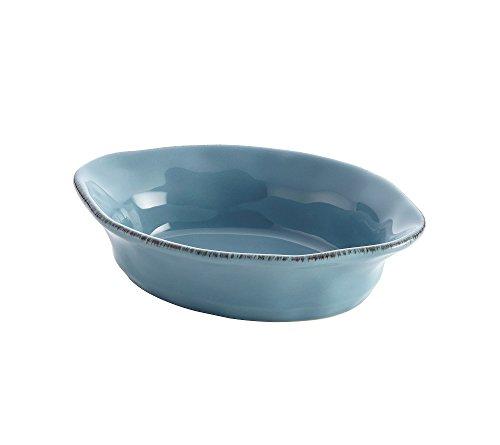 Rachael Ray Cucina Stoneware 12-Ounce Oval Au Gratin, Agave Blue