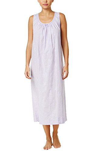Charter Nightgown Club Cotton (Charter Club Women's Lace-Trimmed Embroidered Nightgown (Medium, Light Amethyst))