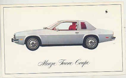 1976 Chevrolet Monza Towne Coupe Factory Postcard - Towne Coupe