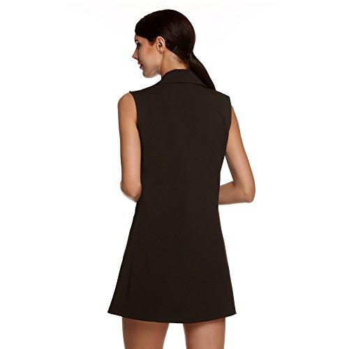 Slim Lunghe Nero Bozevon Coats Women's Vogue Maniche Vest Fashion Gilet Long TqxXwU7
