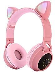 HaavPoois 5.0 Draadloze Bluetooth Oortelefoon Cartoon Kat Oor LED Licht Opvouwbare Hoofdtelefoon Jongen Meisje Kinderen Dag Verjaardag (roze)
