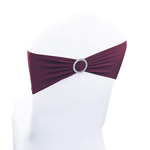 Burgundy Spandex Chair Bands Sashes - 100 pcs Wedding Banquet Party Event Decoration Chair Bows Ties (Burgundy, 100 pcs)